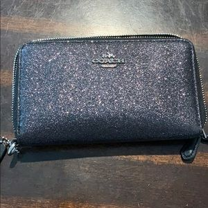 Coach Glittered double zippered wallet